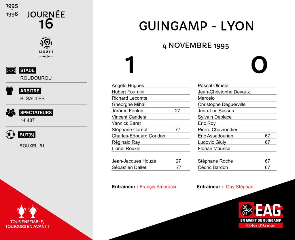 95-96 J16  Guingamp-Lyon