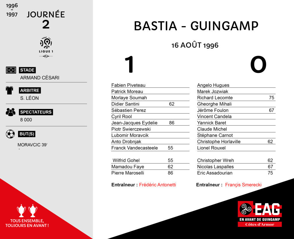 95-96 J2 Bastia-Guingamp
