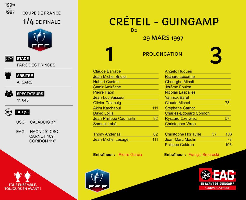 96-97 CDF quart de finale Créteil-Guingamp