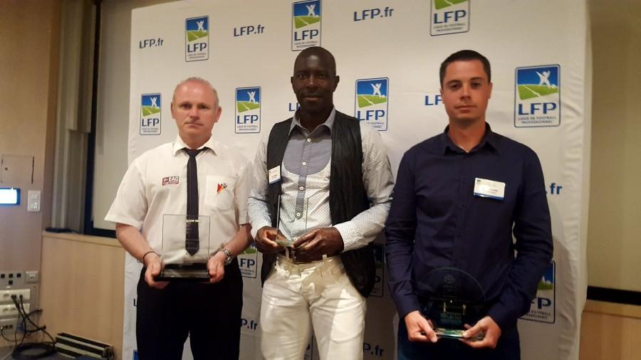De gauche à droite : Pascal Pedron (meilleur speaker de L1), Manu Bessong (jardinier de l'EAG) et Brendan Penvern (Commercial à l'EAG)