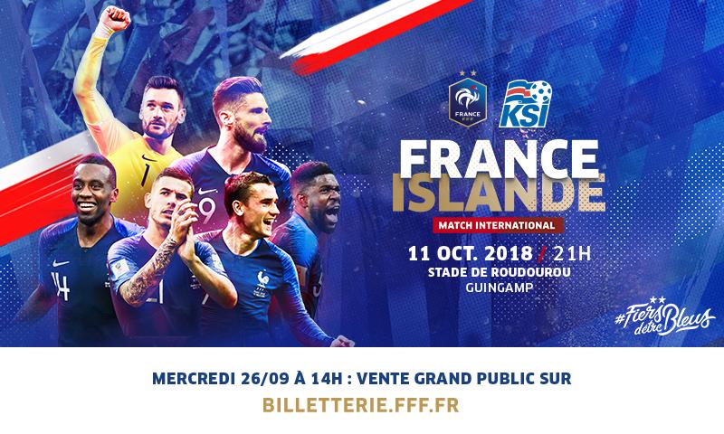 Informations Billetterie France Islande